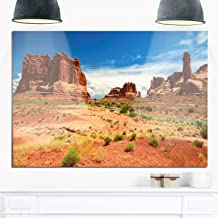 Designart MT11745-28-12 American Road in Arches National Park Landscape Metal Wall Art -28x12