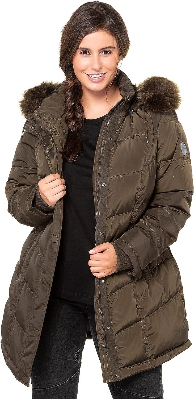 Ulla Popken Womenswear Plus Size Curvy Oversize Faux Fur Trim Diagonal Quilted Lined Jacket Khaki Olive 28/30 725265 75