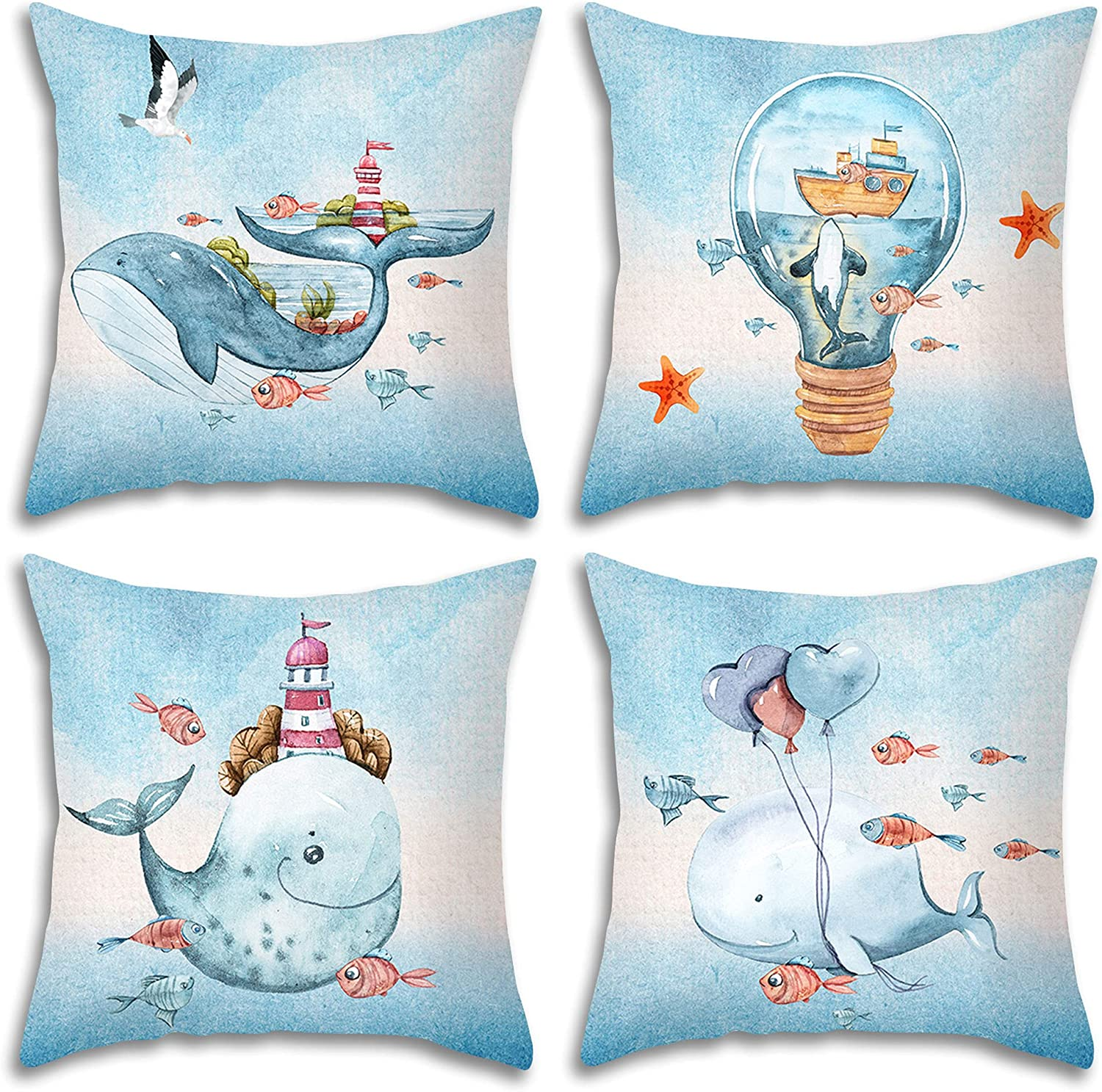 MAKABO Luxury Soft Plush Throw Pillow Cover Colorful Novelty Modern Geometry Christmas Halloween Home car Sofa Decoration Fits 18 x 18 inches 4-Pack (Fantasy Whale)