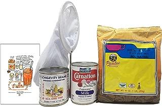 Thai Iced Tea Gift Set with Pantai Tea Mix, Sweetened Condensed Milk, Evaporated Milk, Strainer and Recipe Card (5 items)