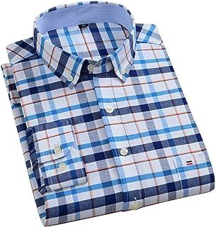 Men's Shirts Plus Size Cotton Oxford Pure Color Stripe Twill Business Casual Long Sleeve Dress Shirt Men