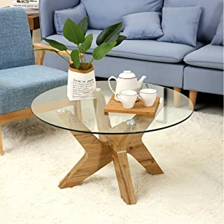 Ivinta Glass Coffee Table Round Industrial Design with Wood Frame for Living Room Home Dining Room,32inch