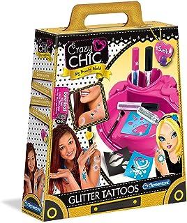 Clementoni- Crazy Chic-Glitter Tattoo Multicolore 18513