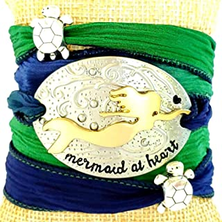 Mermaid at Heart Silk Ribbon Wrap Bracelet with Sea Turtle Accent Beads Mermaid Gifts for Women