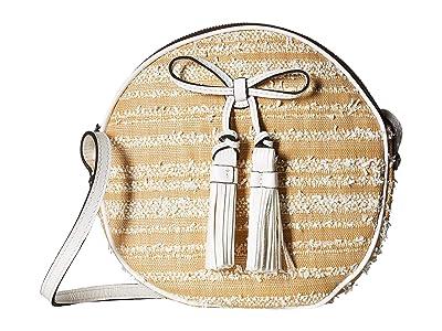 Patricia Nash Ebbe Woven Straw Sibari Canteen Crossbody (White) Cross Body Handbags