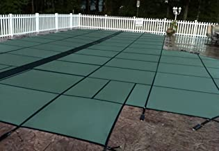 GLI HyPerLite 16 FT X 32 FT Rectangular Solid Safety Cover System with 4 FT X 8 FT Center End Step and Kleen Screen Drain, Green