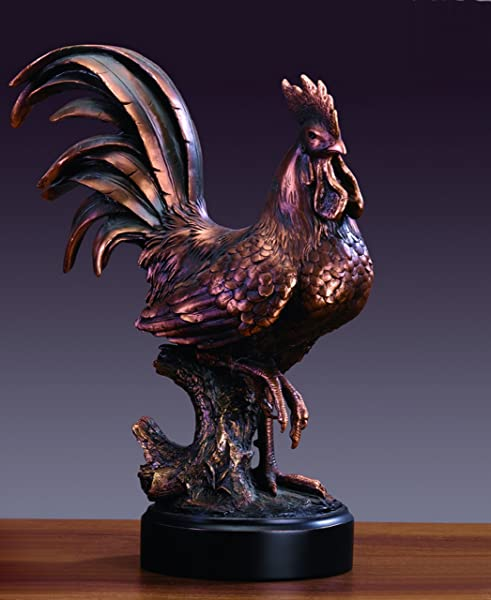 Bronze Finished Rooster Statue Sculpture
