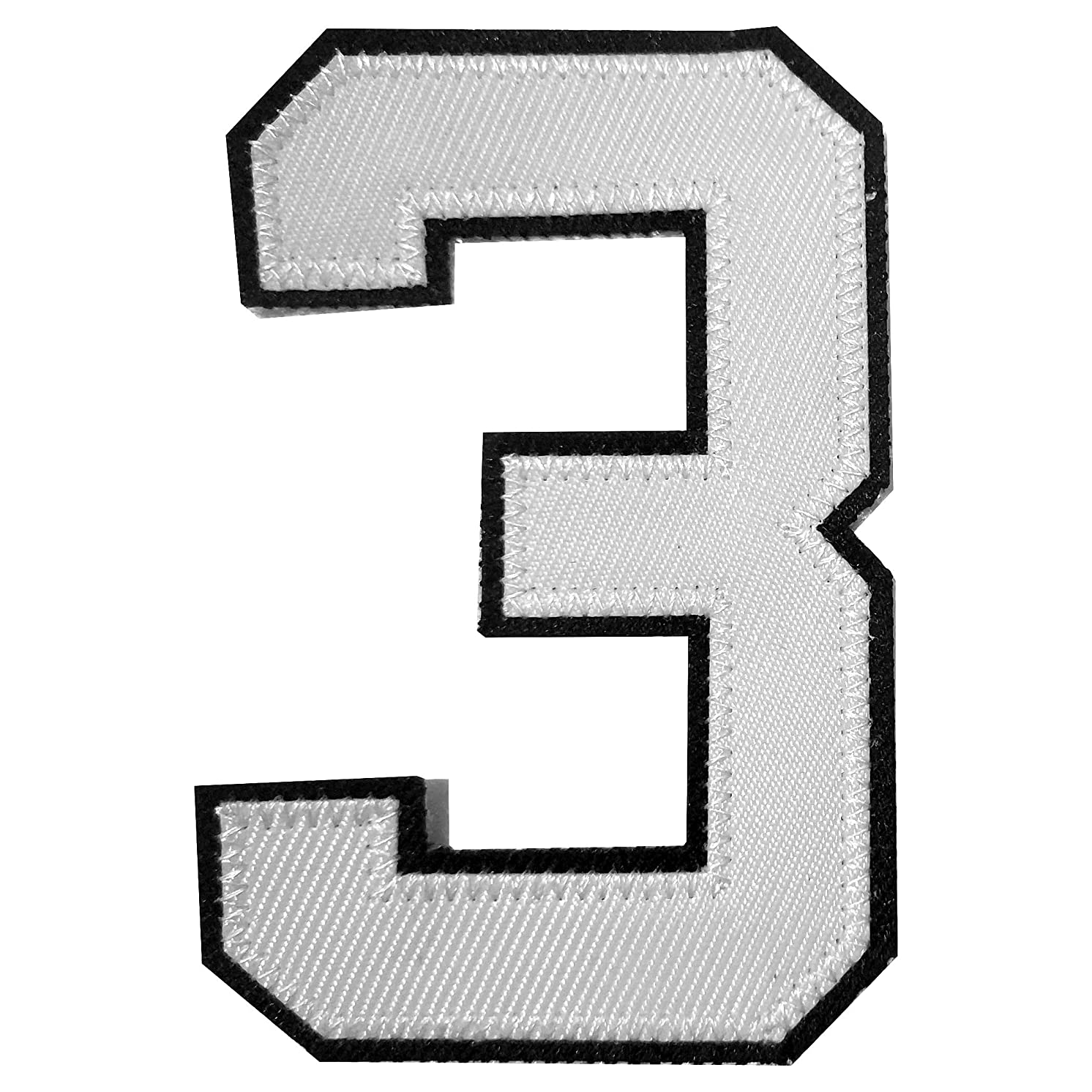 4PCS-10 cm Tall White with Black Outlined Iron on Transfer or Sew-on Twill Jersey Numbers 3 for Custom Jerseys or Sports Shirts