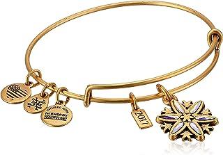 Alex and Ani Women's Crystal Snowflake Bangle Bracelet, Rafaelian Gold