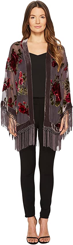 The Kooples - Short Kimono with Embroidered Silver Dragon and Sequins
