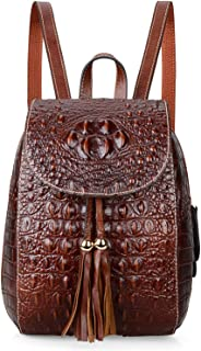 PIJUSHI Leather Backpack For Women Crocodile Bags Fashion Casual Backpack Purses
