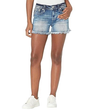 Miss Me Fringed Shorts in Medium Blue Women