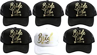 Bride Tribe Mesh Trucker Hat Snapback Cap with Adjustable Strap for Bridal Bachelorette Party (6 Pack) Black and White