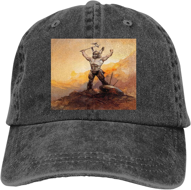 Frank Frazetta Art Cowboy Hat Adjustable Baseball Cap Youth Retro Sports Cowboy Hat Unisex Black