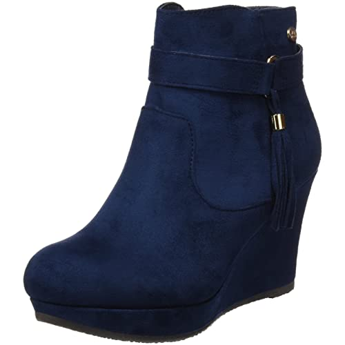 77003d09 XTI Botin Sra. Antelina Navy, Zapatos de tacón con Punta Cerrada para Mujer