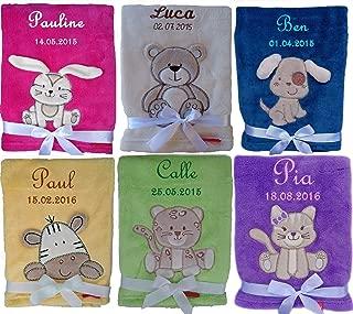 Steiff Kuscheldecke mit Ihrem Wunsch-Namen bestickt 90 cm x 60 cm lila wei/ß fein gestreifte personalisierte Babydecke als Namensdecke