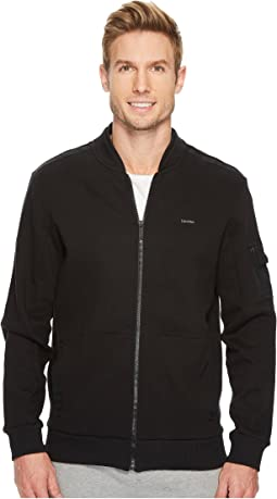 Calvin Klein - Textured Double Collar Full Zip Knit