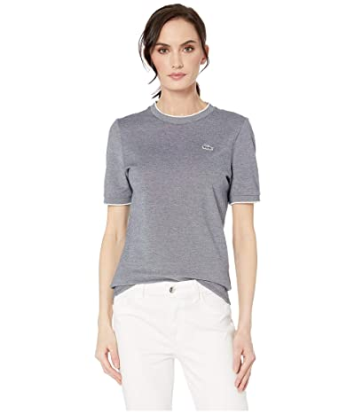 Lacoste Short Sleeve Caviar Pique Crew Neck T-Shirt (Navy Blue/Flour) Women