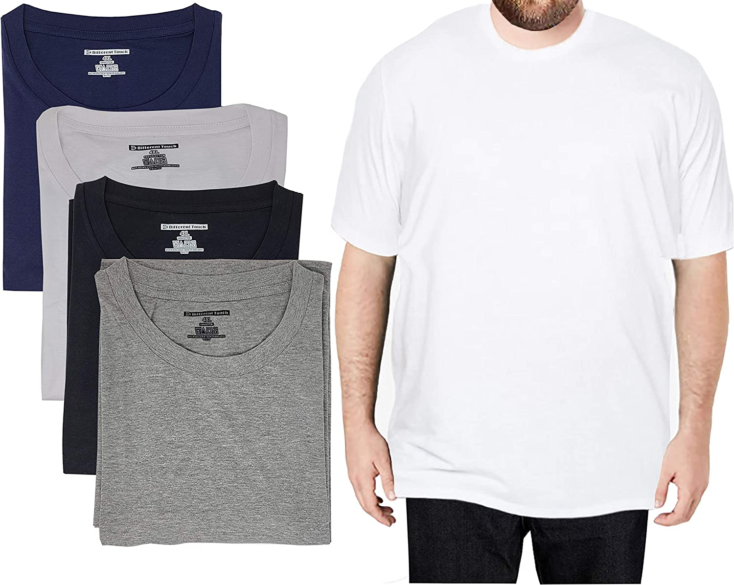 Different Touch 4 Pack Men Big & Tall 100% Cotton T-Shirts