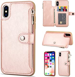 """$20 » Jennyfly Galaxy S9 Case, Fashion Button Magnetic Closure Wallet Design Premium Durable Leather Zipper Protective Cover with Card Slots & Money Pocket for 2018 Galaxy S9 5.8"""" - Rose Gold"""