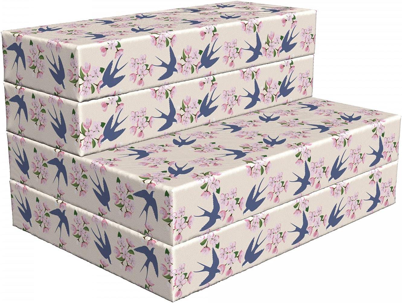 Ambesonne Romantic Louisville-Jefferson County Mall Foldable Mattress Swallow Flowers and 74.8