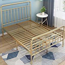 Exquisite Wrought Iron Bed, Apartment Bedroom Bed, Single and Double Iron Frame Bed, Solid Color Household, 59/70.99 inche...