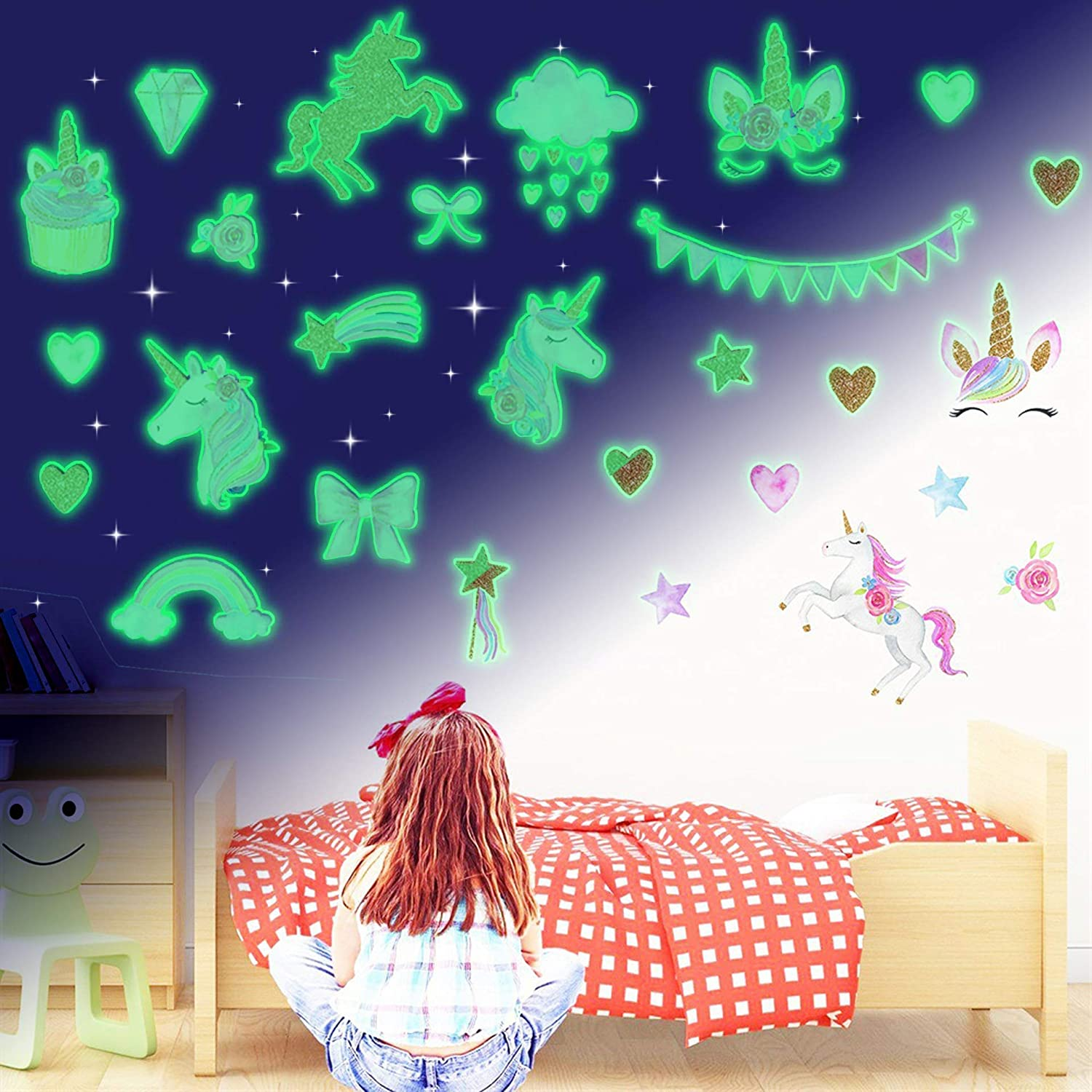 Unicorn Glow in Super sale The Dark Wall Girls 4 Shee Bedroom Stickers Rare for