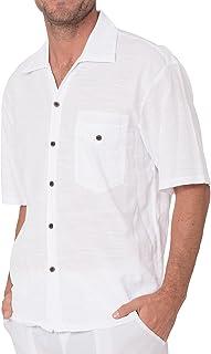 INGEAR Men's White Cotton Shirt Button Down Casual Lightweight Short Sleeve Beach