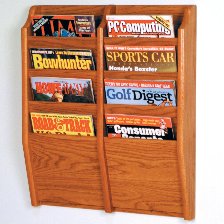 Oakland Mall Wooden Mallet 8-Pocket Cascade Medium Magazine Oak Rack free shipping