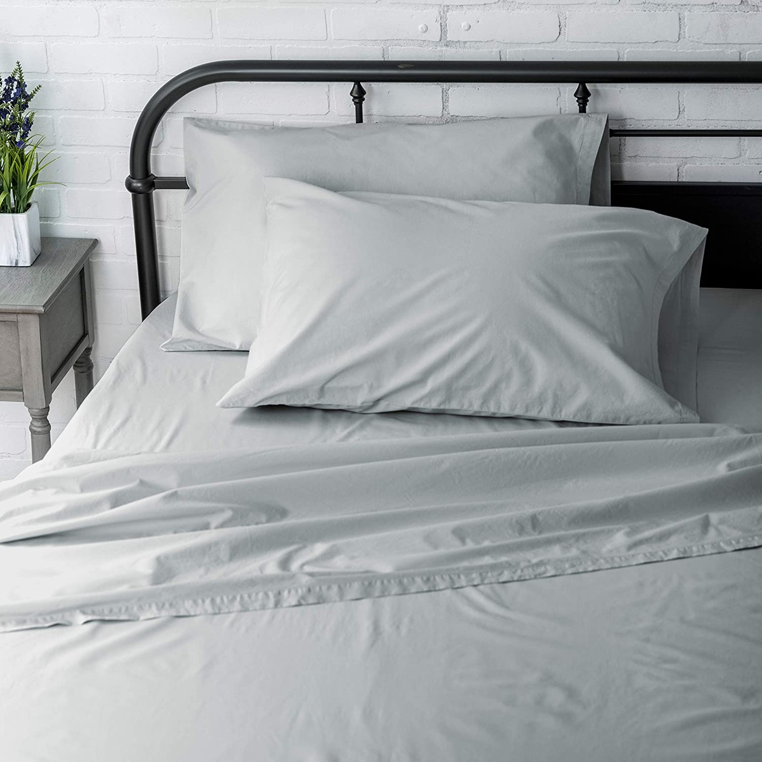 Welhome Full Size Sheet Set - 4 Piece - 100% Cotton Washed Percale - Breathable - Soft and Cozy - Deep Pocket - Easy fit - Platinum