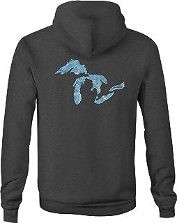 Zip Up Hoodie Great Lakes Michigan Hooded Sweatshirt for Men