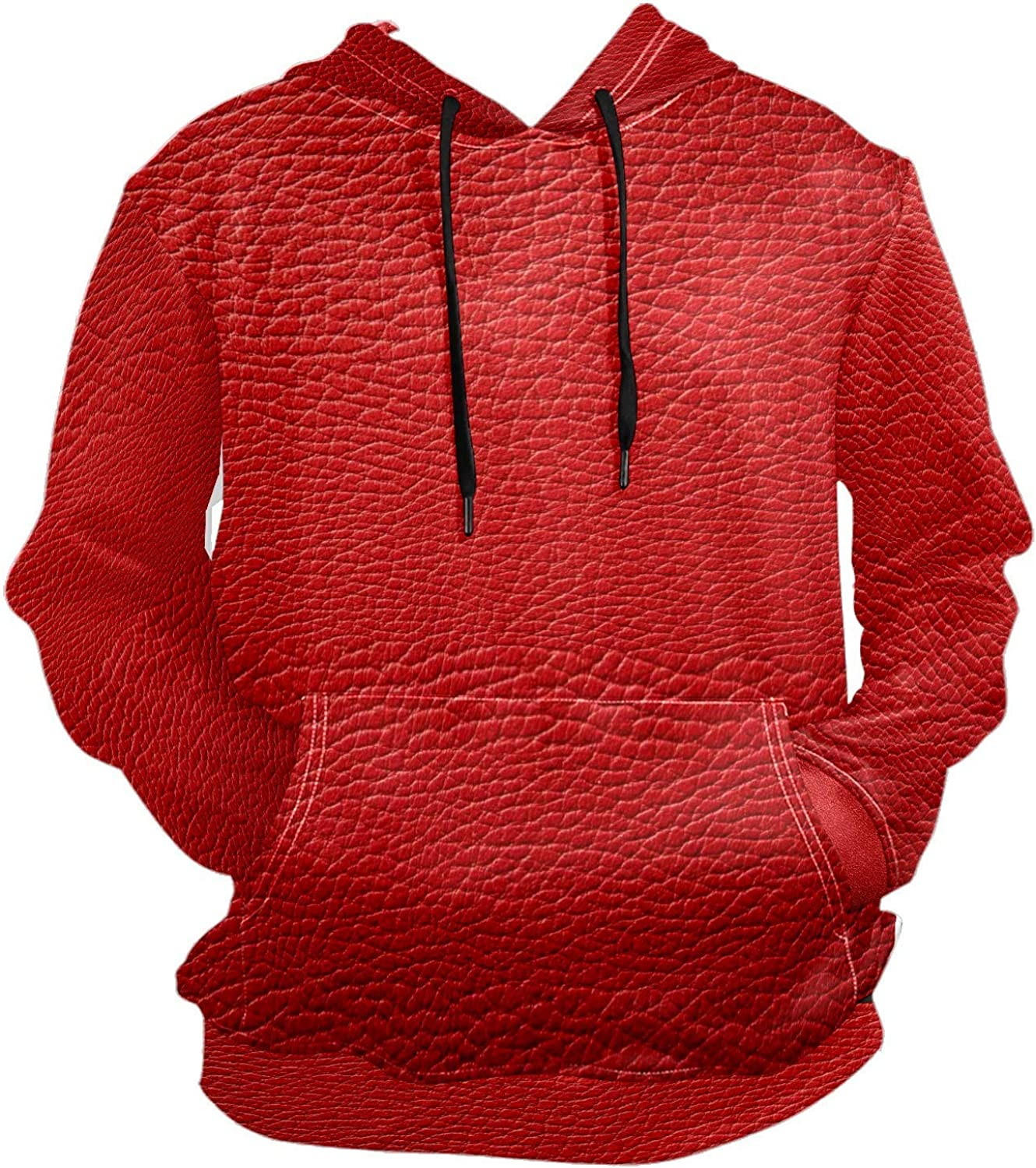 Men's Sport Hoodie Leather Red Big and Tall Hoodies for Men Women Oversized Hooded Sweatshirt Hip Hop Pullover Hoodie Midweight Hood for Boys Girls