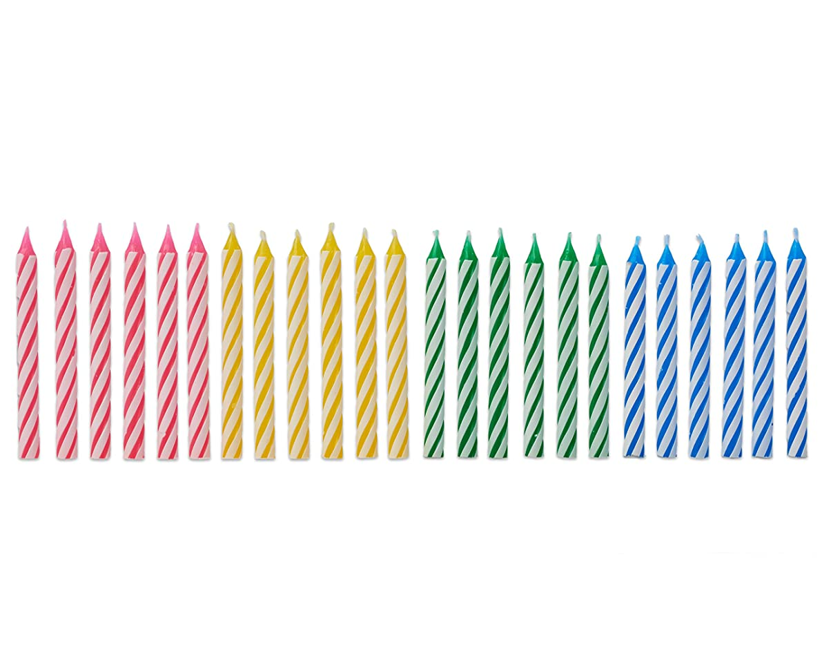 American Greetings 24 Count Party Supplies Colorful Striped Spiral Birthday Candles, Pink/Yellow/Green/Blue