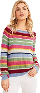 Milumia Women's Knitted Color Block Sweater Stripe Casual Pullover Jumper