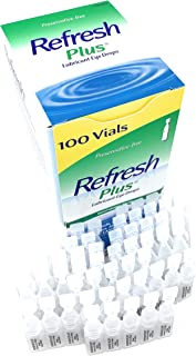 Allergan Refresh Plus Lubricant Eye Drops Single-Use Vials 1 Pack (100 ct), Clear