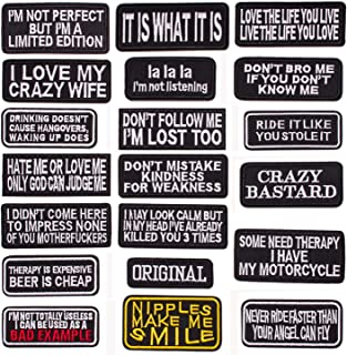 U-Sky 20pcs Assorted Iron on Word Patches for Motorcycle Biker Vest Different Embroidered Iron-on Slogan Letter Patch for Backpacks Sew on Appliques for Jean Jackets Bicycle Bags Caps Clothing
