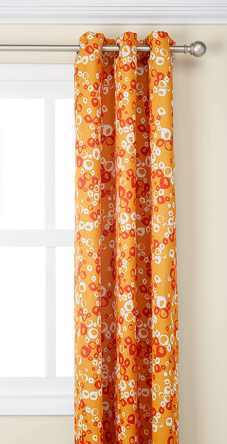 Deconovo Decorative Bubbles Circle Printed Grommet Top Bedroom One Pair Blackout Curtains, 42X95Inch, orange and Red