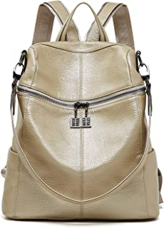 BOYATU Convertible Genuine Leather Backpack Purse for Women Fashion Travel Bag
