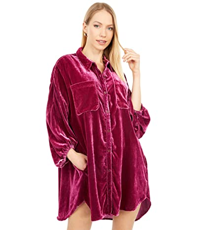 Free People Lux Velvet Shirtdress (Raspberry) Women