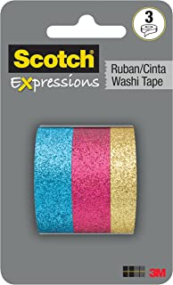 Scotch Expressions Washi Tape Multi Pack, 3 rolls/pk, Gold, Pink and Blue Glitter Collection (C1017-3-P2)