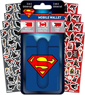 DC Comics Superman Wallet for Phone Set- Deluxe Stick on Wallet for Cell Phone with Card Holder, Phone Cord Holder, Stand and Stickers (Superman Mobile Wallet Accessories)