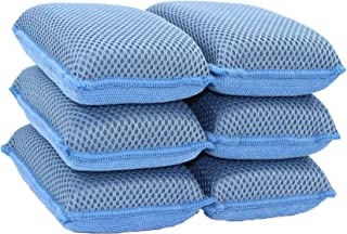 Miracle Microfiber Kitchen Sponge by Scrub-It - Large - Non-Scratch Heavy Duty Dishwashing Cleaning sponges- Machine Washable- (Blue, 6 Pack)