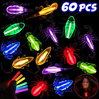 Glow Stick Necklaces Glow Bug Toys Glow in the Dark Necklaces Halloween Party Supplies for Kids Adults with Glow Stick (60 Pieces)