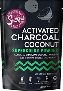 Suncore Foods - 100% Pure Activated Charcoal Coconut Natural Supercolor Powder, 5oz (1 Pack)
