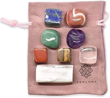 Zenluma Chakra Stones, Healing Crystals Set with 7 Tumbled Stones for Crystal Healing and Mineral Collecting. Chakra Crystals