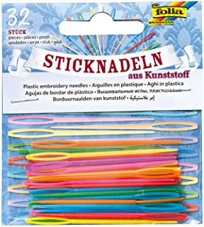 folia 2399 - Sticknadeln aus Kunststoff, 32 Stück, farbig sortiert