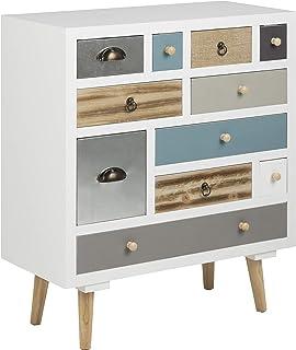 AC Design Furniture Muebles de Diseño Cómoda Suwen Cajones Multicolores Patas de Pino Lacado Transparente 11 Piezas Bl...