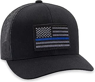 Thin Blue Line Hat – Blue Line Trucker Hat Baseball Cap Snapback Golf Hat (Black)
