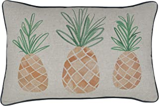 MANOJAVAYA Pineapple Decorative Farmhouse Rustic Orange Print on Linen Oblong Throw Pillow Cover for Entryway Couch New Home (Pineapple(NAT), 14