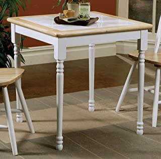 Damen Square Tile Top Casual Dining Table Natural Brown and White